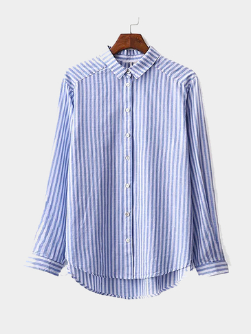 Striped Lapel Long Sleeves Shirt