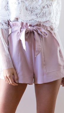 Sweet High-rise Sash-tie Waist Shorts in Pink