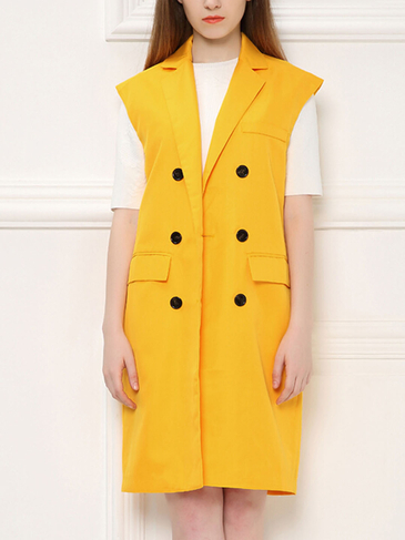 Yellow Single Breasted Midi Sleeveless Coat