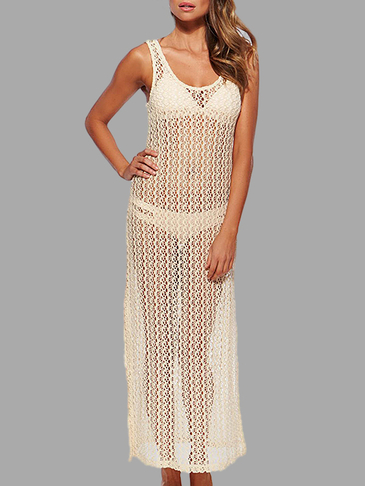 Beige Beach Hollow Out Sin mangas Maxi Cover-up