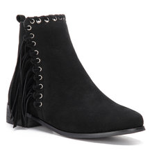 Black Suede Tassel Embellished Short Boots with Zipper Design