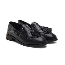 Black Soft Leather Look Tassel studded Slip-on Loafers