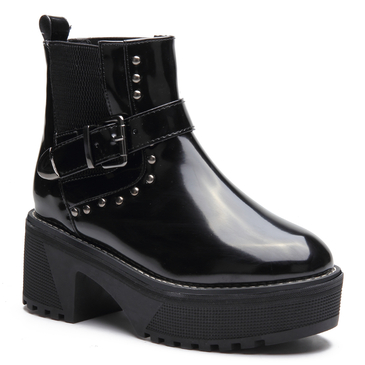 Black Studded Embellished Platfrom Short Boots with Buckle Design