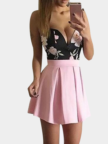 Strapless Floral Print Pleated Hem Mini Dress