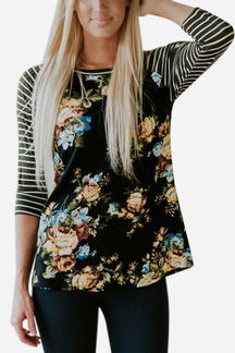 Black Stripe & Floral Print Pattern Raglan Sleeves Top