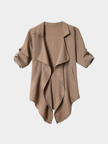 Khaki Irregular Hem Button Details Lapel Collar Trench Coat