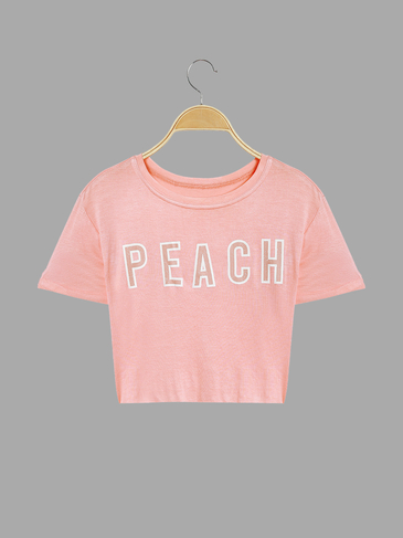 Short Sleeves Peach Letter Pattern Crop T-shirt