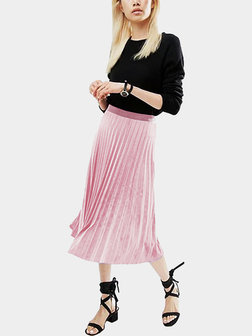 Pink Velvet High-waisted Pleated Design Midi Skirt