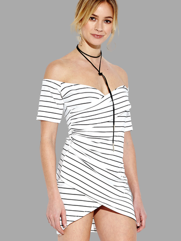 Off-The-Shoulder Stripe Pattern Wrap Front Mini Dress