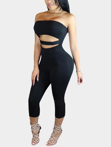 Black Off Shoulder Hollow Out Jumpsuit