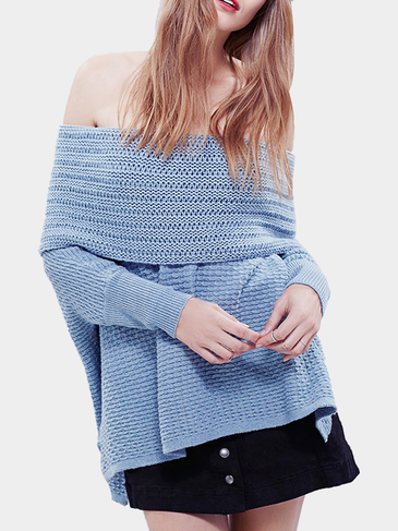 Blue Off Shoulder Kint Sweater
