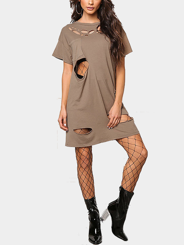 Brown Round Neck Cut Out Hollow Design T-shirt Dress