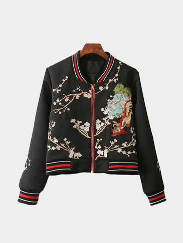 Fashion Embroidery Pattern Jacket In Black
