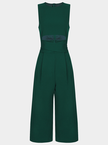 Crew Neck Cut Out Knot Front High Waist Jumpsuit