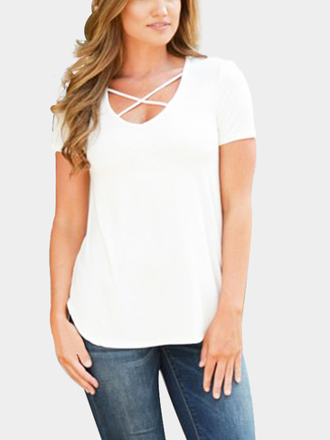 White Causal Chest Cross Front T-shirt