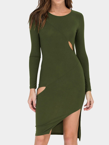 Army Green Cut Out Bodycon Robe mi-longue avec ourlet