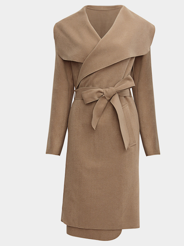 Camel Lapel Neck Self-Tie Design Maxi Outerwear