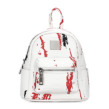 White Croc Leather-look Mini Backpack with Decorative Detailing