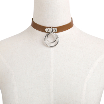 Coffee Silver Metal Button Choker Necklace