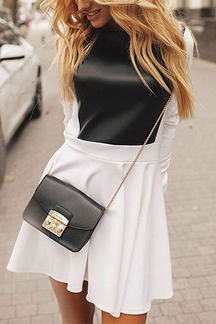White Artificial Leather Splicing Long Sleeve Dress