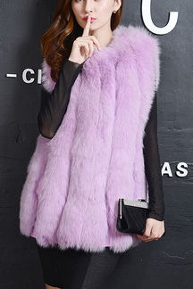 Light Purple Artificial Fox Fur Gilet
