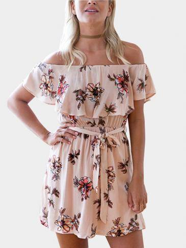 Off-The-Shoulder Ruffle Design Random Floral Print Dress