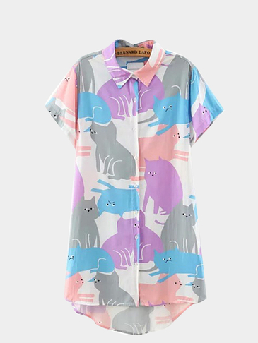 Multicolor Cat Printing High Low Hem Shirt
