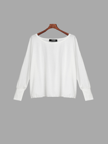 White See-through Loose Off Shoulder Long Sleeve T-shirt