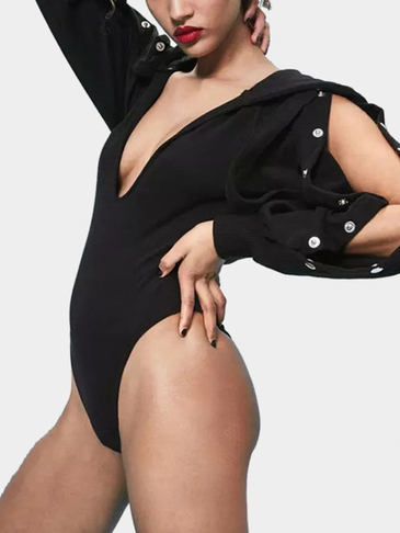Black Hoodie Design Splited Sleeves Bodysuit