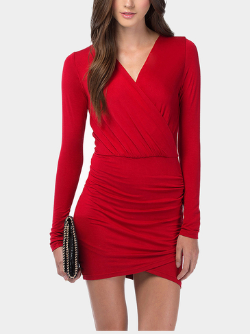 Red Plunge V-Neck Wrap Mini Dress