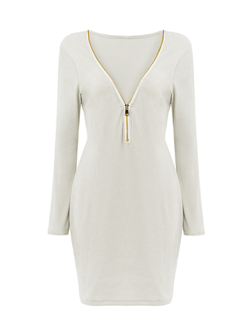 Zipper V-neck Knit Dress