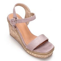 Light Purple Suede Look Faux Wood Sole Wedge Sandals