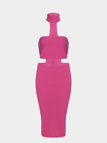 Rose Tube Hollow Out Sexy Bodycon  Dress
