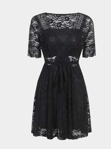 Black Sexy Perspective V-neck Lace Mini Dress