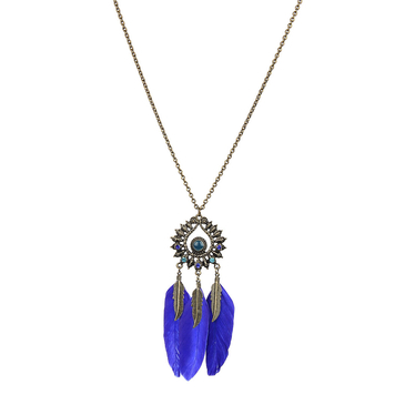 Vintage Blue Feather and Leaf Pendant Necklace
