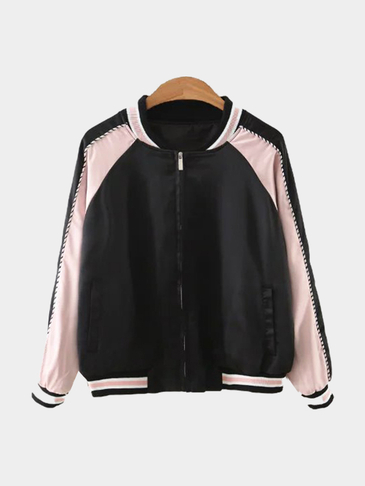 Black Stripe Baseball Collar Embroidery Back Jacket