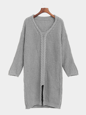 Grey V Neck Long Sleeves Jumper