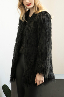 Black Fashion Long Sleeves Artificial Fur Longline Coat