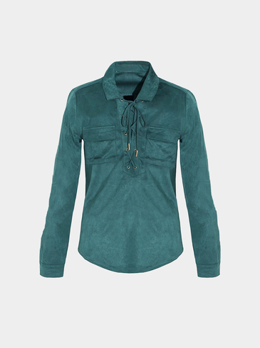 Dark Green Suede Lace-Up Top