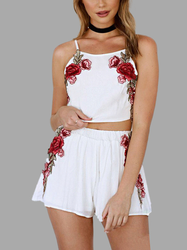 Embroidery Rose Cami & Shorts Set in White