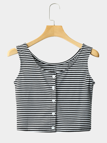 Fashion Sleeveless Stripe Button Cardigan Vest