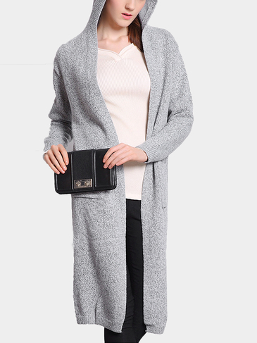 Light Grey Hooded Knitted Cardigan with Open Front