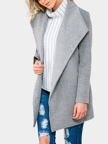 Grey Lapel Collar Duster Coat