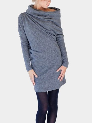 Grey Heaps Collar Back Single Breasted Casual Dress