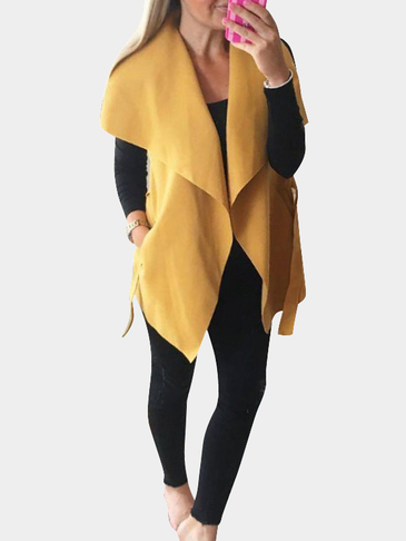 Yellow Lapel Collar Woolen Coat With Self-tie Waist