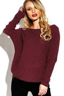 Lightweight Off Schulter Bat Lange Hülsen Loose Jumper in Burgund