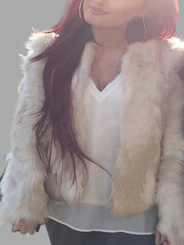Long Sleeves Open Front Artificial Fur Outerwear