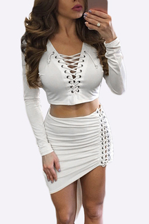 White Long Sleeves Top & Irregular Hem Skirt Lace-up Bodycon Co-ord