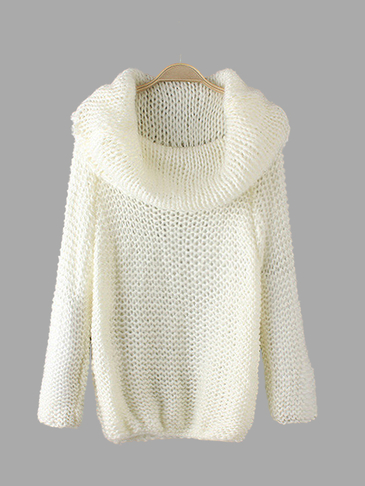 Loose White Roll Neck Cut Knitwear