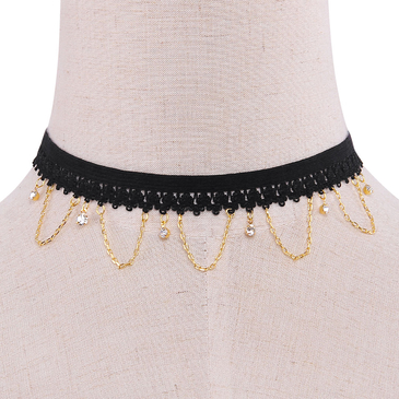Chain And Crystal Pendant Crochet Choker Necklace